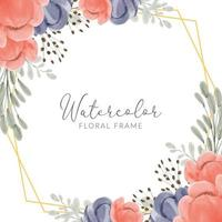 Floral frame watercolor painted with peony and geometrical golden border vector