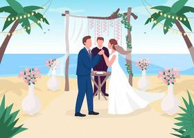 ceremonia de boda tropical vector