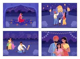 la gente celebra la fiesta hindú vector
