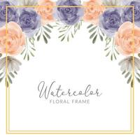 Hand painted watercolor floral frame with roses flower illustration vector