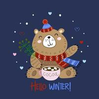 Christmas bear in a knitted hat with a mug of cocoa