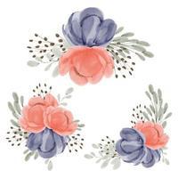 Collection of peony flower arrangement watercolor set vector