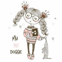 niña en un suéter jugando con un perro vector
