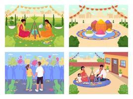 conjunto de vacaciones indias vector