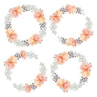 Watercolor peach peony flower wreath circle frame collection vector
