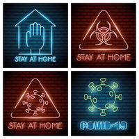 iconos de luz de neón de coronavirus