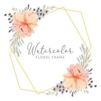 Watercolor peach peony flower frame hand painted rustic vector