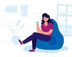 mujer con smartphone en casa vector