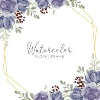 Watercolor hand painted rustic purple rose floral frame border vector