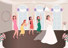 Bouquet throwing tradition vector
