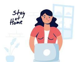 campaña de oficina en casa con mujer en la computadora portátil vector