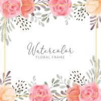 Floral frame with rose peony flower watercolor hand painted illustration vector