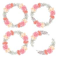 Watercolor hand painted rose floral circle frame wreath set vector