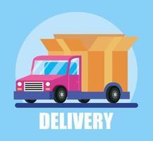 camión de reparto y banner de servicio de mensajería vector