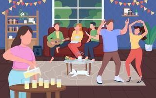 fiesta en casa bailando vector
