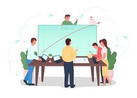 Startup flat graph vector