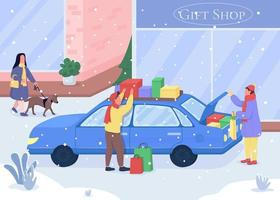 Shopping for Christmas gifts vector
