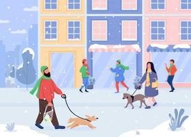 pasear perro en invierno vector