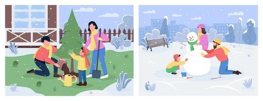 conjunto de actividades familiares de invierno
