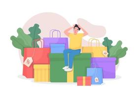 Shopaholic with purchases vector