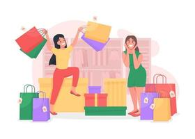 Girls shopping together vector
