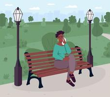Upset woman sitting on bench in park