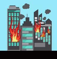 A tall building and House On Fire, Extinguisher Vector ,safety first