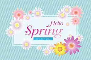 Hello Spring card design, sale background vector