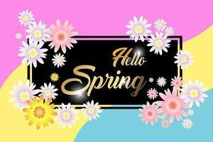 Hello Spring  card design, sale background vector