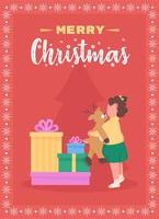 Merry Christmas to children greeting card