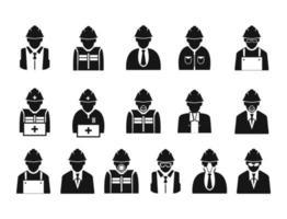 Ingeniería de la construcción, icono de los trabajadores. vector