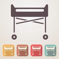 icono plano de cuna de hospital en cajas de color