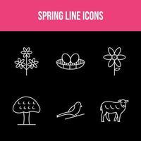 Spring Line Vector App Set