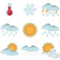 Day weather colour icons set isolated vector