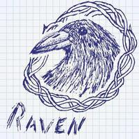 cuervo cuervo boceto dibujado a mano en endrino. vector
