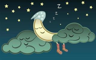 Cartoon moon and clouds sleeping