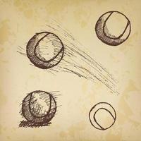 Tennis ball sketch set isolated on old paper vector