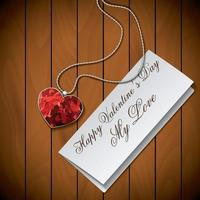 Letter with pendant on wooden background vector
