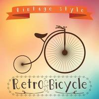 Retro bicycle on colorful background. vector