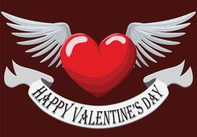 Valentine Heart with wings vector