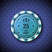 Poker chip twenty five, on card symbol background