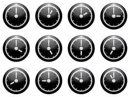 Clock symbol set white on black isolated