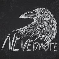 cuervo cuervo dibujado a mano texto de boceto nunca más vector