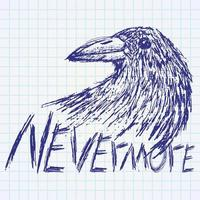 Crow raven hand drawn sketch text nevermore vector