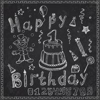 Birthday party elements colored hand drawn sketch vector