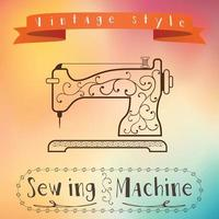 Old retro sewing machine with floral ornament vector