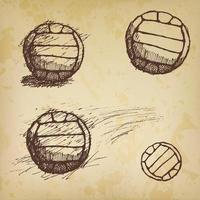 Volleyball ball sketch set on old paper vector