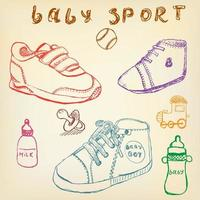 Baby shoes set sketch hand drawn color
