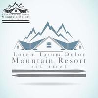 Mountain resort logo design template vector