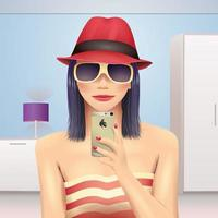 Girl taking self portrait in hat and sunglasses